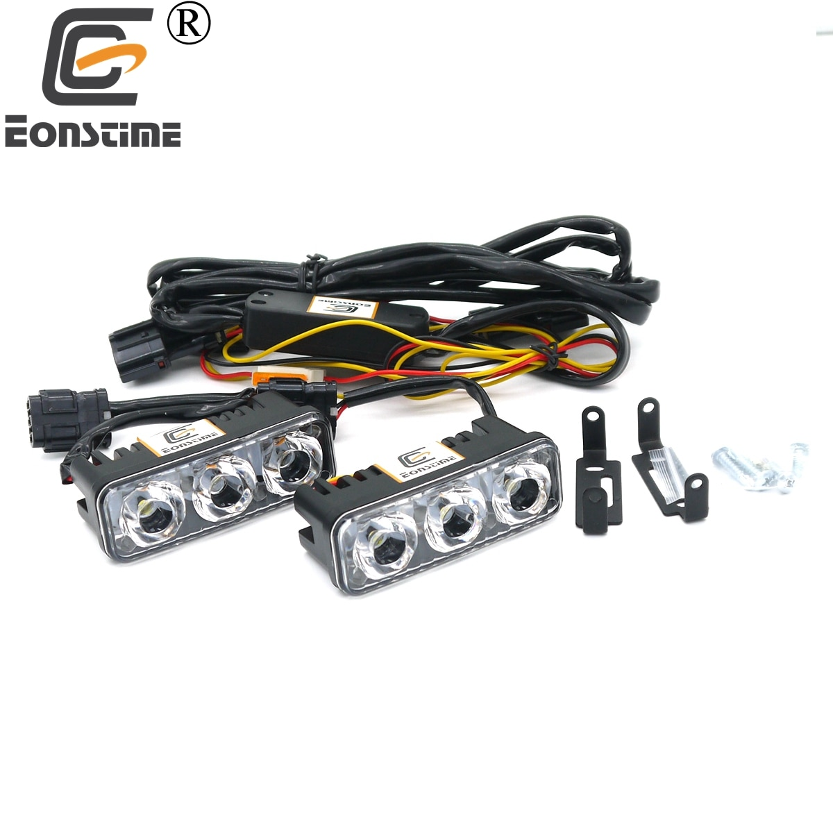 Eonstime DC12V/24V Waterproof Car Auto High Power Aluminum LED Daytime Running Lights with Lens 6000K DRL Fog Lamps Turn Signal