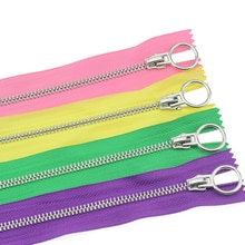 5# 2pcs 20cm close-end auto lock circle platinum plating zipper use for clothes shoes pocket garment