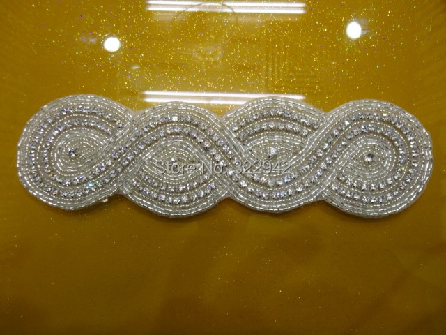HOT Silver Beaded custom Rhinestone applique Crystal Bridal Headband, rhinestone bridal applique