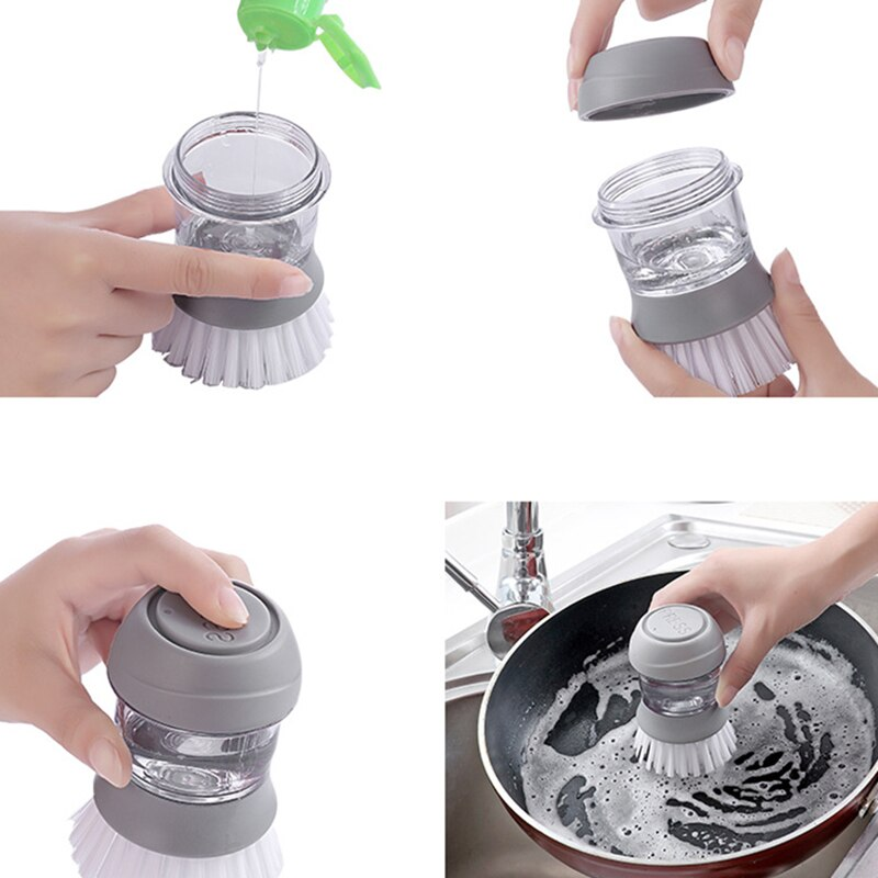 Cleaning Brushes Dish washing tool Soap Dispenser Refillable pans cups bread Bowl scrubber kitchen goods accessories gadgets enlarge