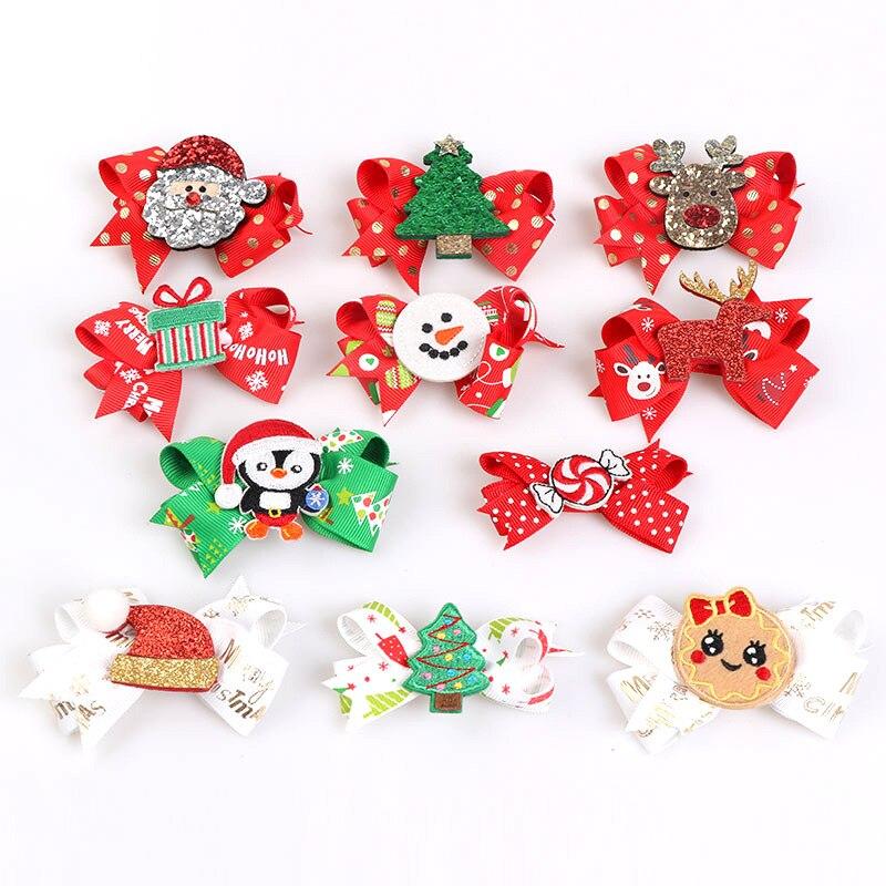 Pinzas para el pelo de regalo de Navidad para niñas Horquillas para el pelo de Santa wapiti