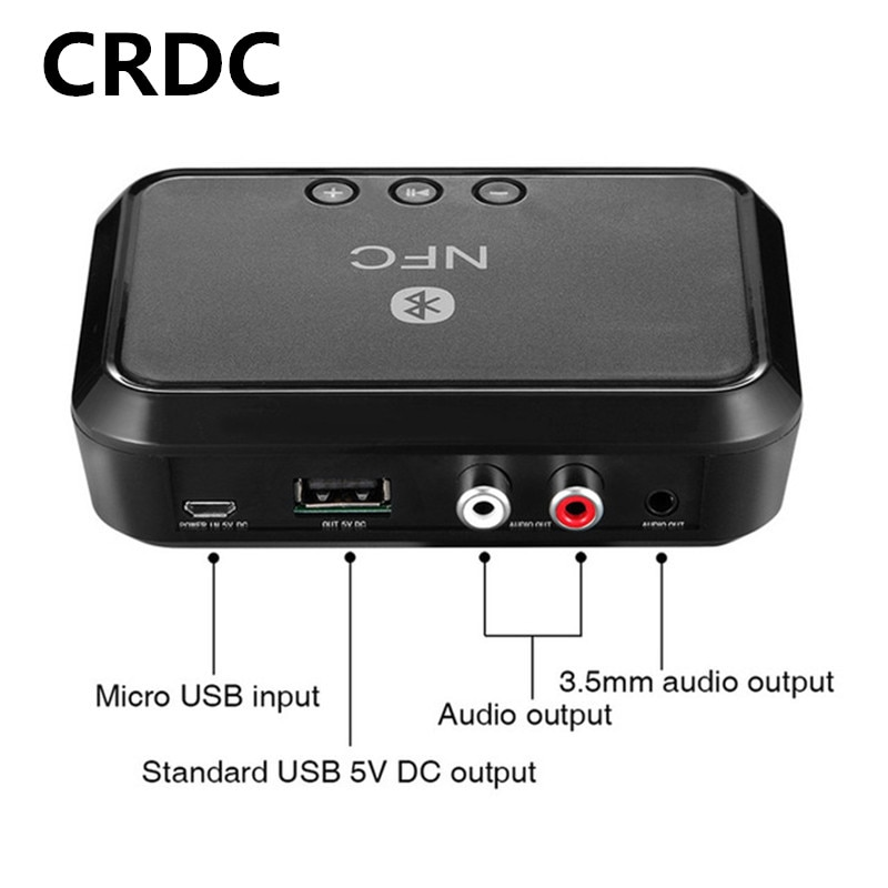 CRDC receptor Bluetooth NFC/USB disco música lectura estéreo adaptador inalámbrico 3,5mm AUX/RCA coche Altavoz Bluetooth Audio receptor