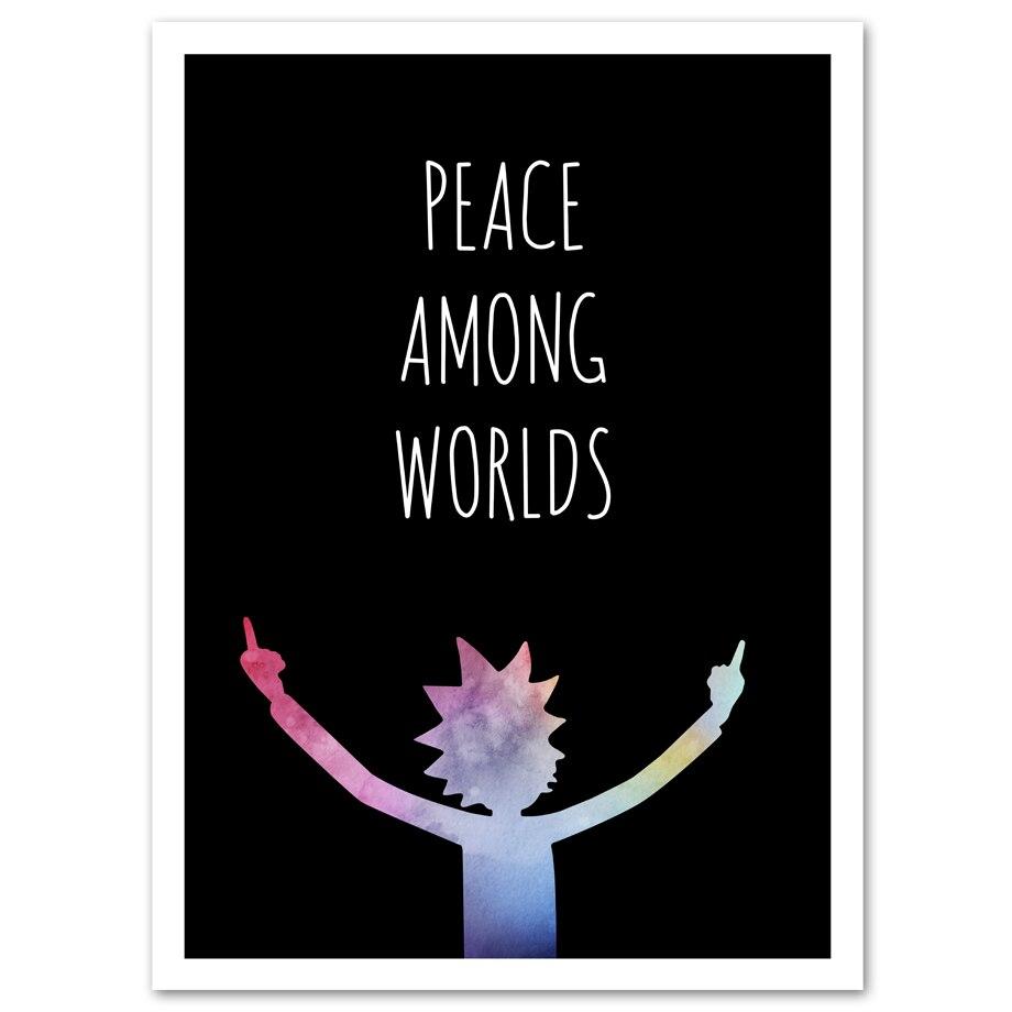 Cuadro en lienzo de Rick y Morty Peace of world, Impresión de arte de pared, póster de dibujos animados moderno, imágenes de pared para decoración para sala de estar