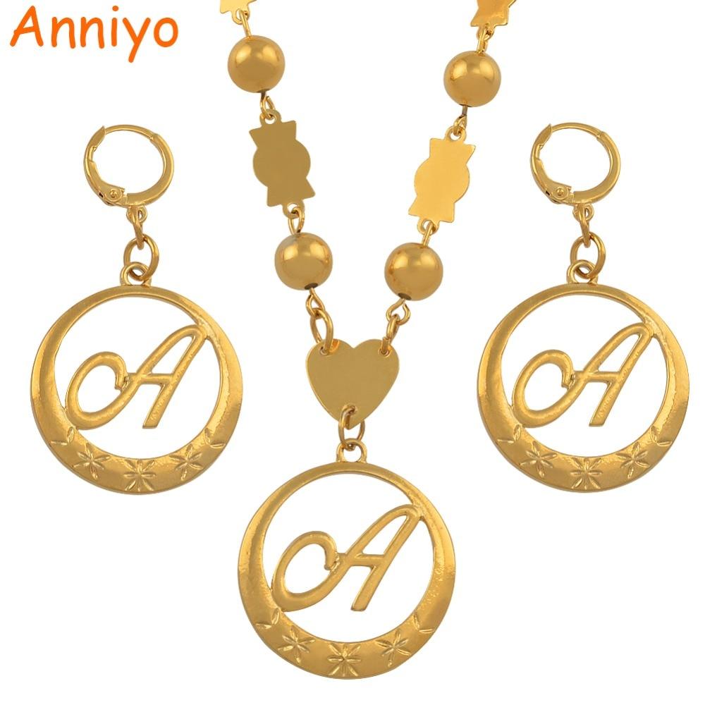 Anniyo Cursive Letters золотой цвет кулон Начальная цепочка для женщин шарики ожерелья английские буквы ювелирные изделия для женщин #135006