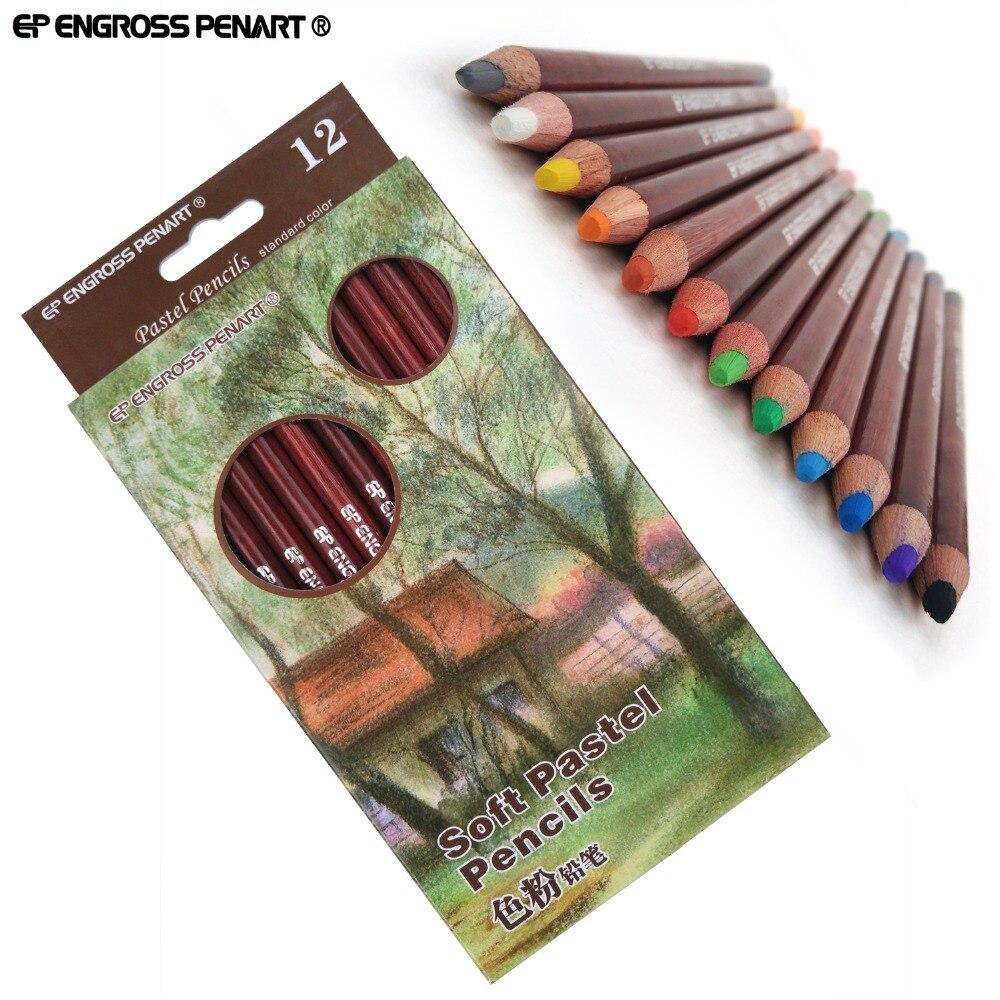 Профессиональные мягкие пастельные карандаши для художников 12, цветные пастельные карандаши для рисования, школьные принадлежности