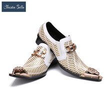 Christia Bella Italian Men Shoes Genuine Leather Wedding Formal Shoes British Pointed Toe Men Dress Shoes Business Plus Size