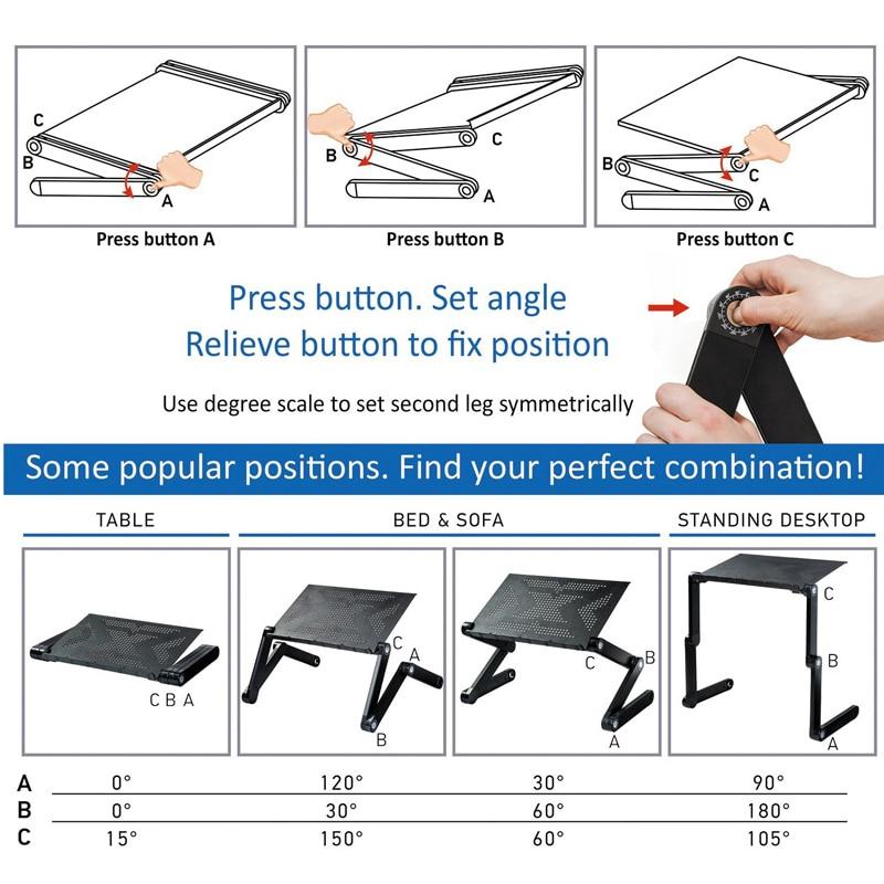 Soporte de mesa portátil ajustable, bandeja para sofá cama, mesa de escritorio para ordenador portátil SD5