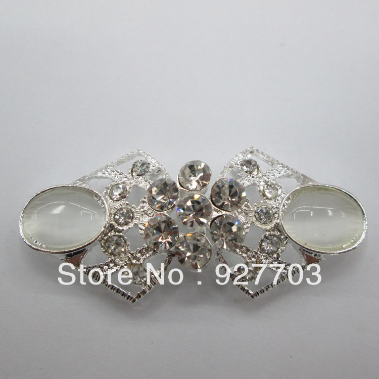 (CM520 31*61mm)100pcs rhinestone pair buckle for wedding invitation card