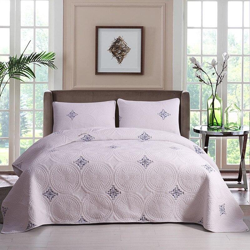 CHAUSUB-طقم لحاف قطني أبيض ، مفرش سرير مبطن مطرز بلون سادة ، غطاء سرير بحجم كينج وكوين ، 3 قطعة