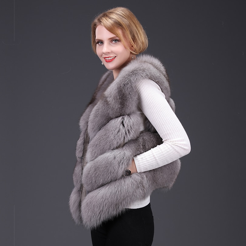 2020 New Real Fox fur Women Vest Fashion Luxury Thick Warm Coat Jacket Solid Color Fur Vests Women Coats