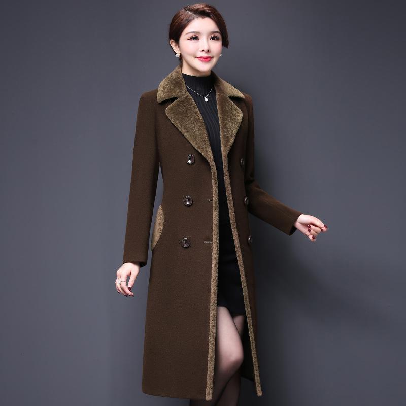 M-5XL casaco feminino 2019 abrigos mujer outono ampla cashmere misturas de lã outerwear casaco feminino outono casacos de inverno sólido coa