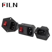 10A 250VAC 3 Pin iec320 C14 einlass anschluss stecker steckdose mit rot lampe rocker schalter 10A sicherung halter buchse stecker
