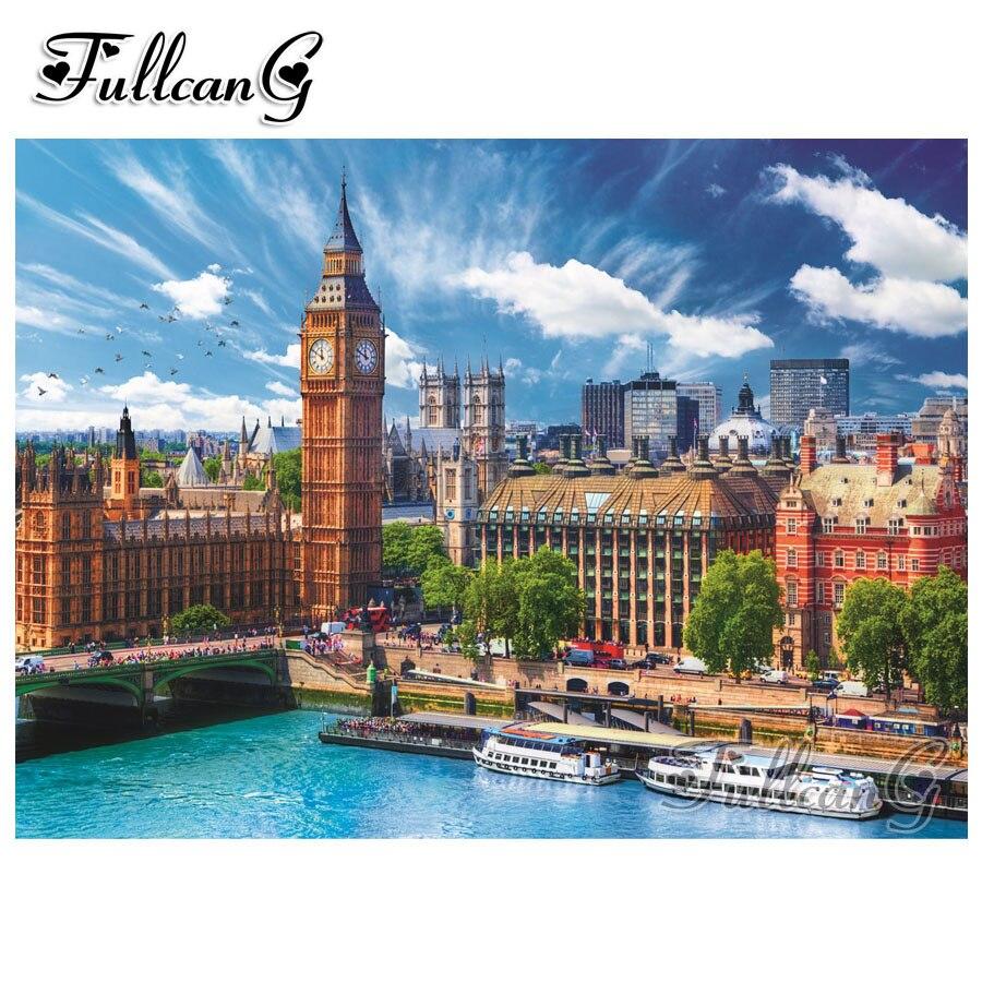 FULLCANG diy 5d diamante mazayka Londres reloj Torre dimundo pintura cuadrado completo/redondo taladro verano paisaje bordado arte FC987