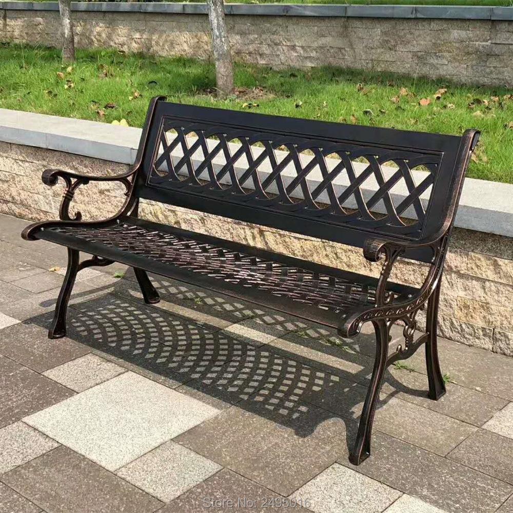 "51"" Patio Garden Bench Park Yard Outdoor Furniture Cast aluminum Frame Porch Chair in bronze color"