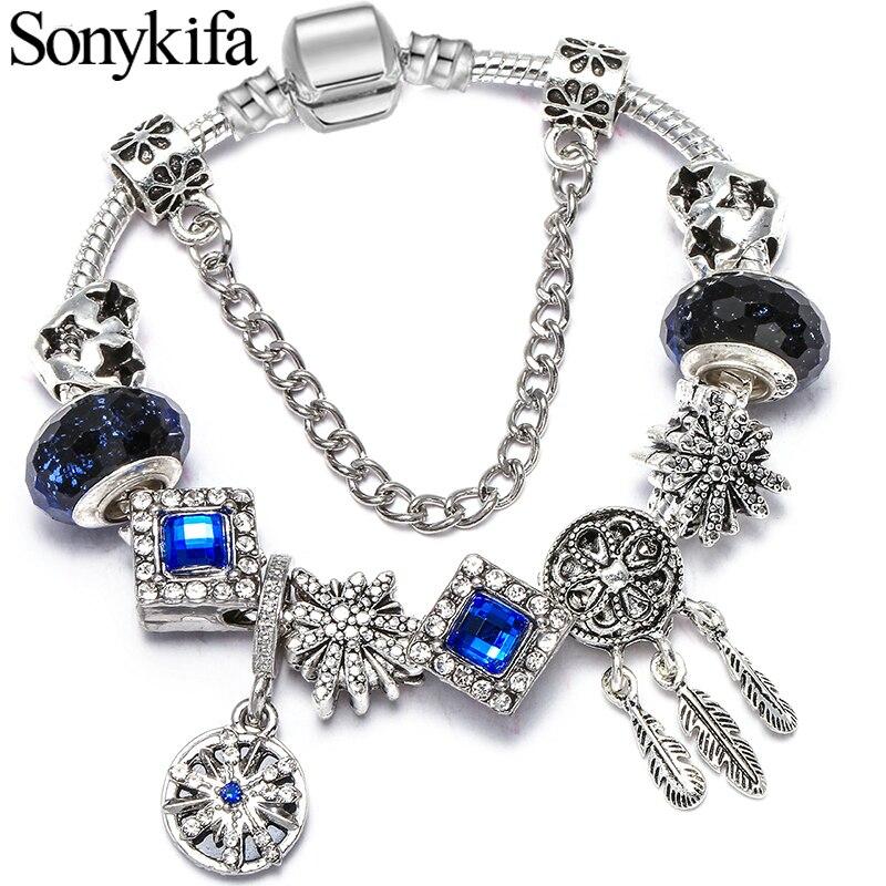 Оригинальный синий классический изящный браслет, браслет, сделай сам, Звездный браслет с кристаллами, очаровательный браслет для женщин, по...