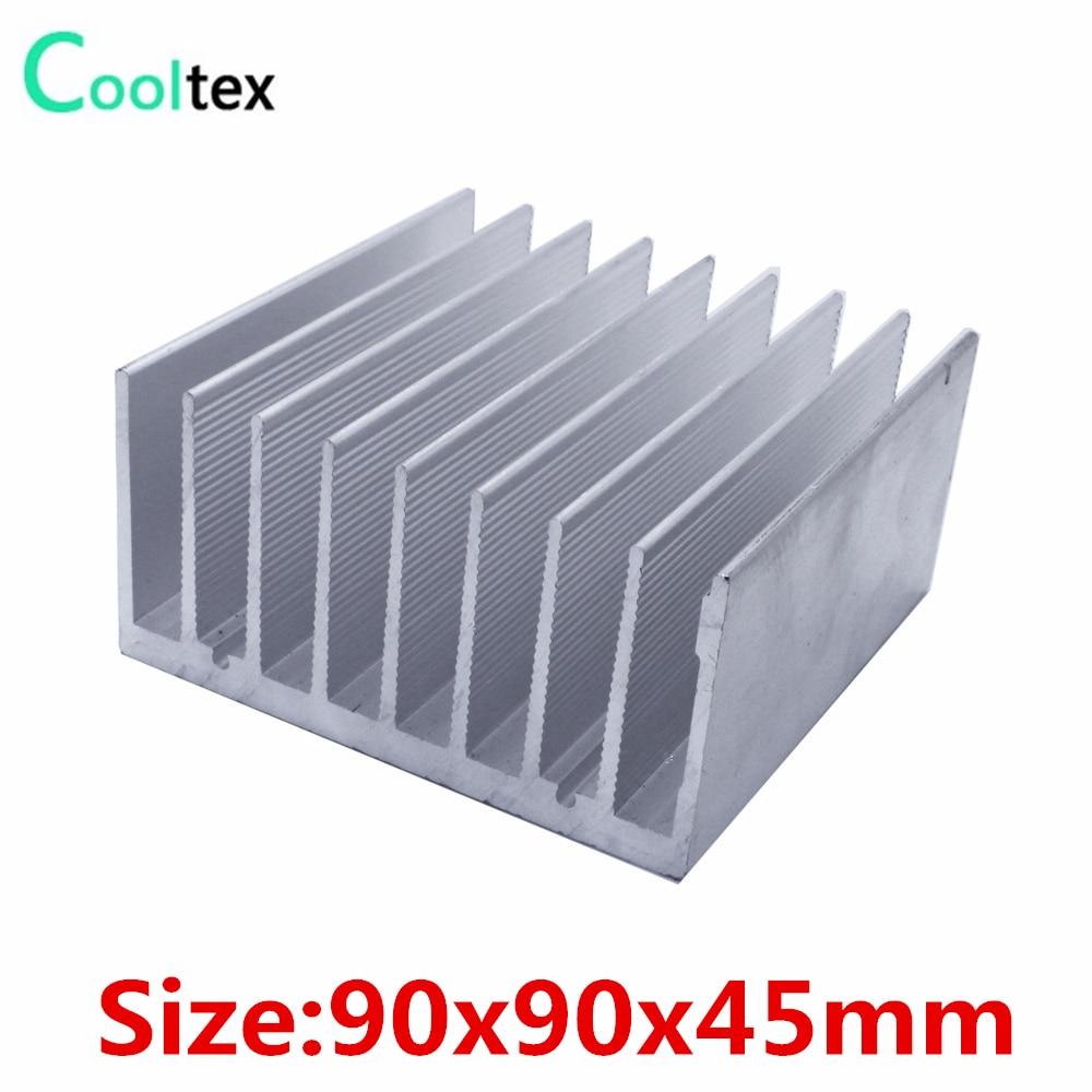 Высокомощный алюминиевый радиатор 90x90x45 мм, радиатор для теплоотвода, радиатор для светодиодных электронных компьютеров, рассеивание тепла охлаждение