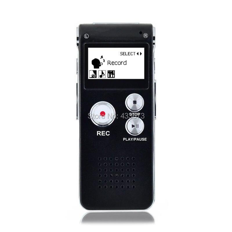 De acero recargable 8 GB activado por voz grabadora de voz Digital de Audio dictáfono teléfono MP3 de almacenamiento negro envío gratis