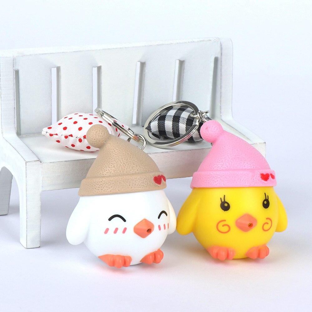 Bonito chaveiro de frango criativo led luminoso chaveiro mini lanterna crianças brinquedo presente do bebê criança chaveiro