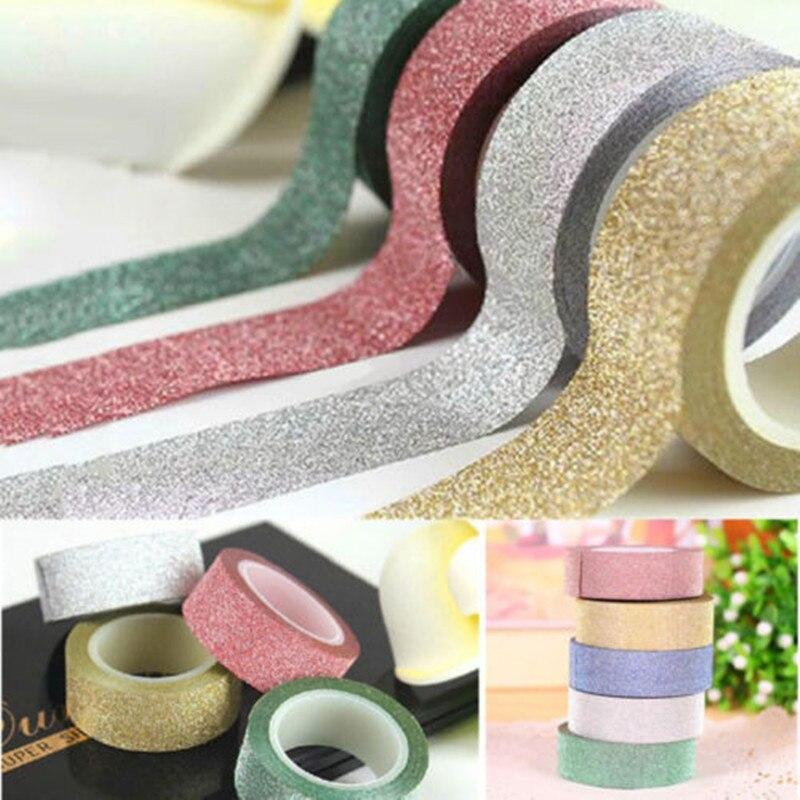 Cinta adhesiva Washi de 3M con purpurina, cinta adhesiva para enmascarar, etiqueta DIY, artesanía, boda, cumpleaños, Festival, decoración decorativa para el hogar