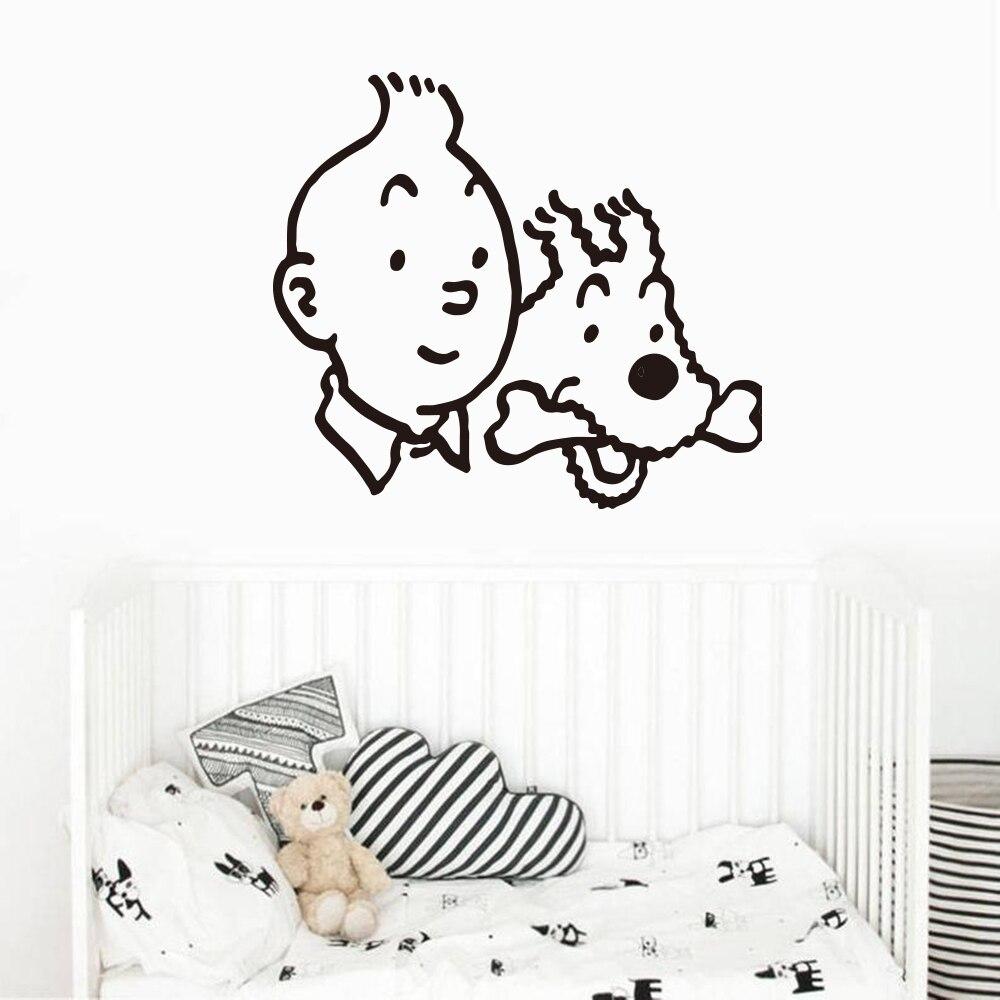 Calcomanía de pared de perro Catoon Tintin, coche portátil, lindo Animal Tintín, animé, Adhesivo de pared inspiracional, vinilo para habitación de niños, decoración del hogar