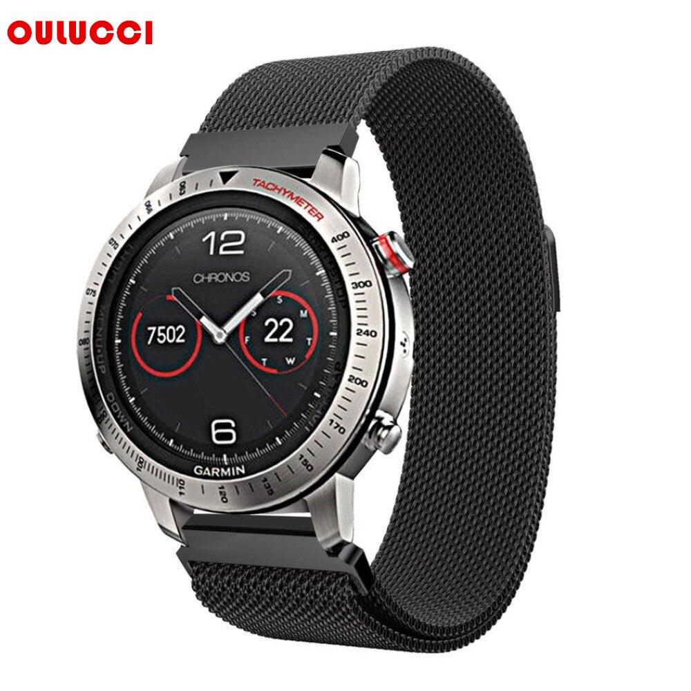 Correa de reloj de 22mm, correa de acero inoxidable de malla magnética de lujo a la moda para Garmin Fenix Chronos negro plateado