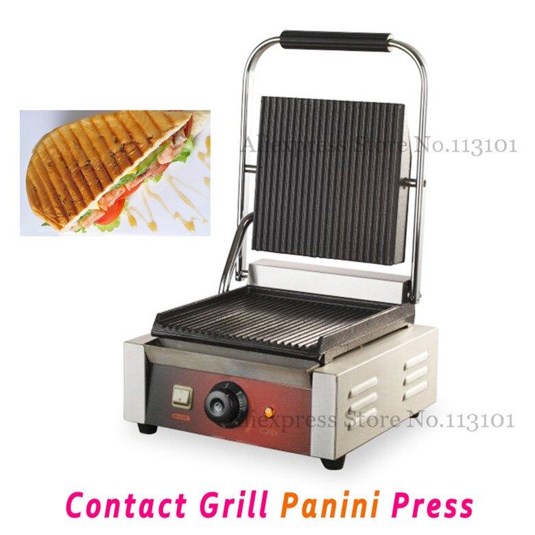 Comercial Panini Grill fabricante de sándwich Parrilla de contacto parrilla eléctrica con placas de ranura de una sola cabeza