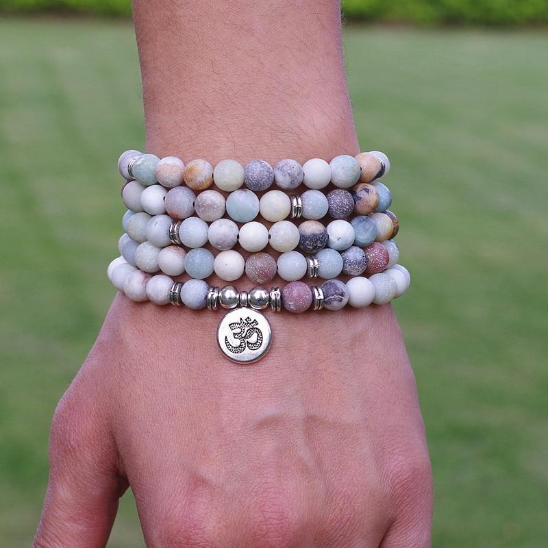 Femmes hommes bijoux 8mm mat Amazonite pierre perles OM breloque brin Bracelet 108 Mala perles Yoga Chakra Bracelet ou collier