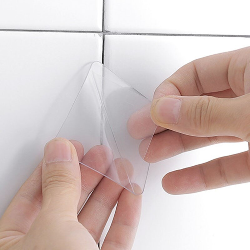 20 pièces Double face Transparent adhésif crochet auxiliaire pâte forte sans couture tuile crochet étanche magique autocollants salle de bain outil