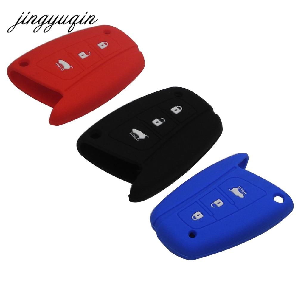 Силиконовый чехол jingyuqin для автомобильного ключа Hyundai Solaris ix35 ix45 Accent Elantra Santa Fe 3 кнопки аксессуары для дистанционного ключа