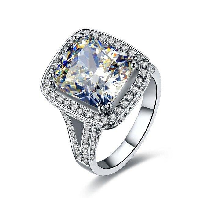 خاتم من الذهب الأبيض عيار 14 قيراطًا مرصع بالألماس الكريستالي ، خاتم فاخر أصلي 8 قيراط للنساء ، مجوهرات الزفاف الرومانسية