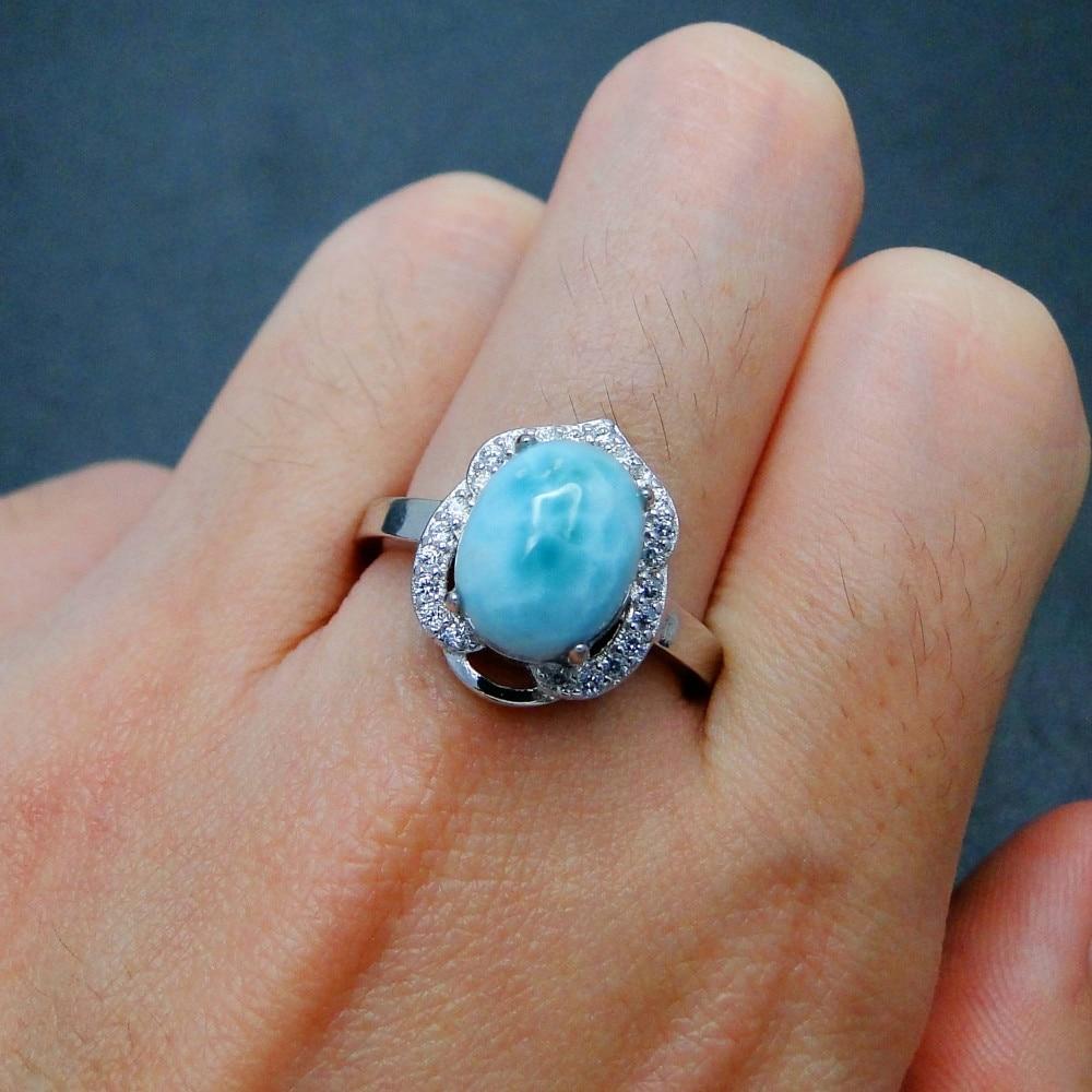 Genuine Larimar Female Rings 8X10MM Blue Crystal Stone Fine 925 Sterling Silver Jewelry Rings Ocean Stone Gemstone Ring Band