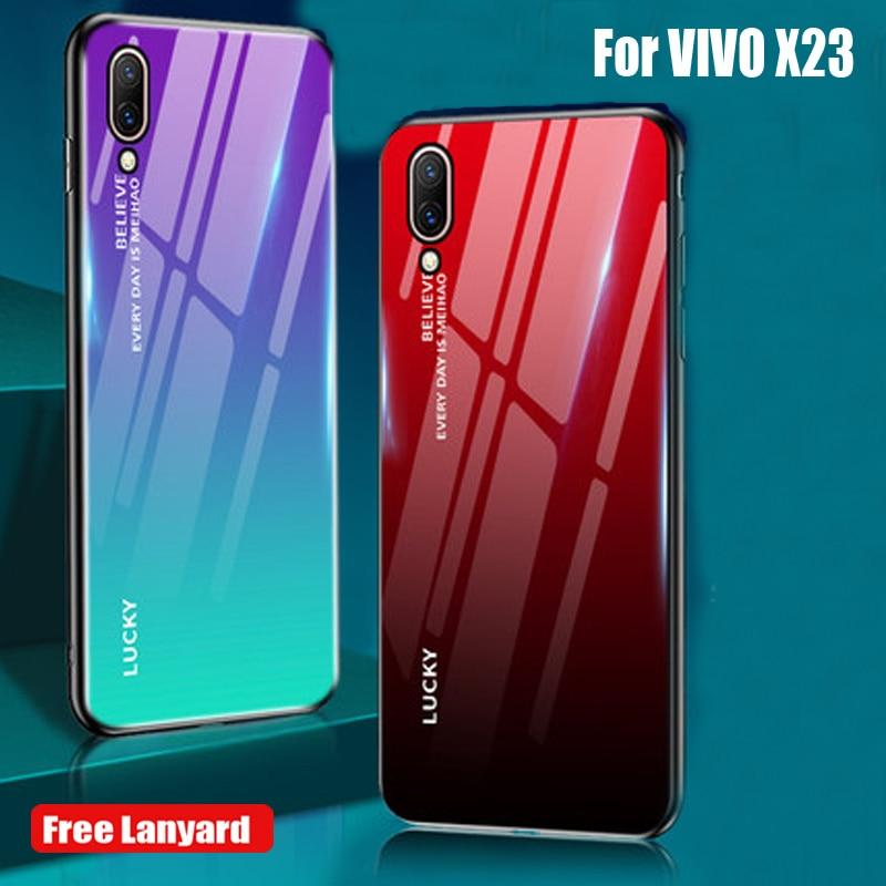 Muhafaza VIVO X23 Kılıf telefon arka kapak Degrade Temperli Cam VIVO için kılıf X23 X 23 Telefon Protercted arka kapak VIVOX23