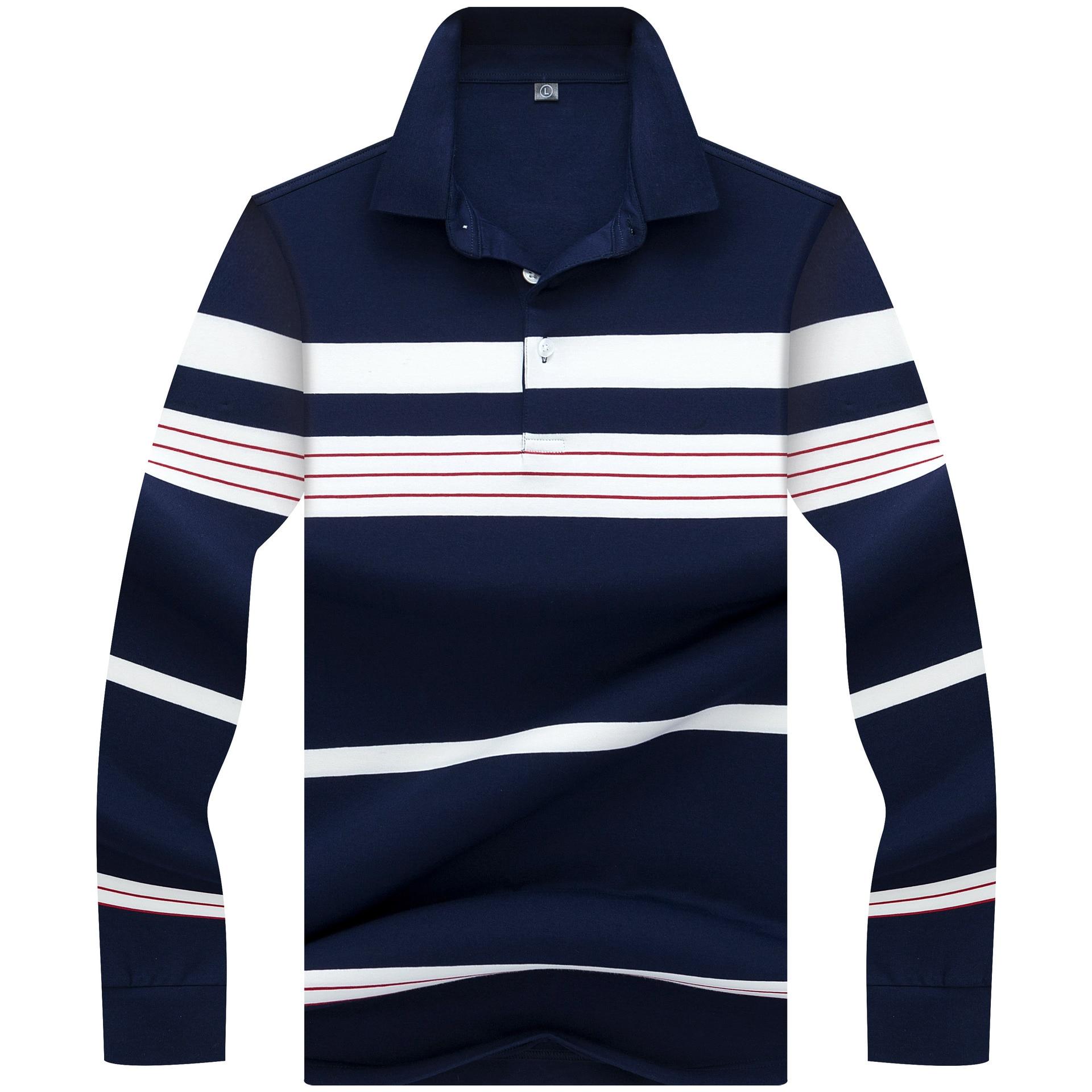 2018 Top Kwaliteit Winter Lange mouw Polo Shirt Gestreepte Business merk polo Shirts Casual paard poloshirts