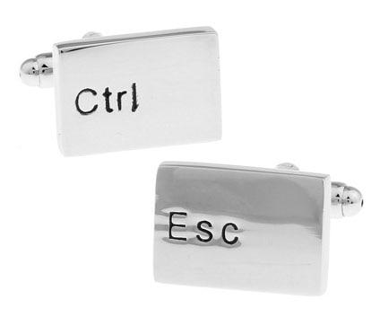 Regalo para hombres, gemelos de teclado, venta al por mayor y venta al por menor de plata, Material de cobre, novedad, diseño Esc & Ctrl