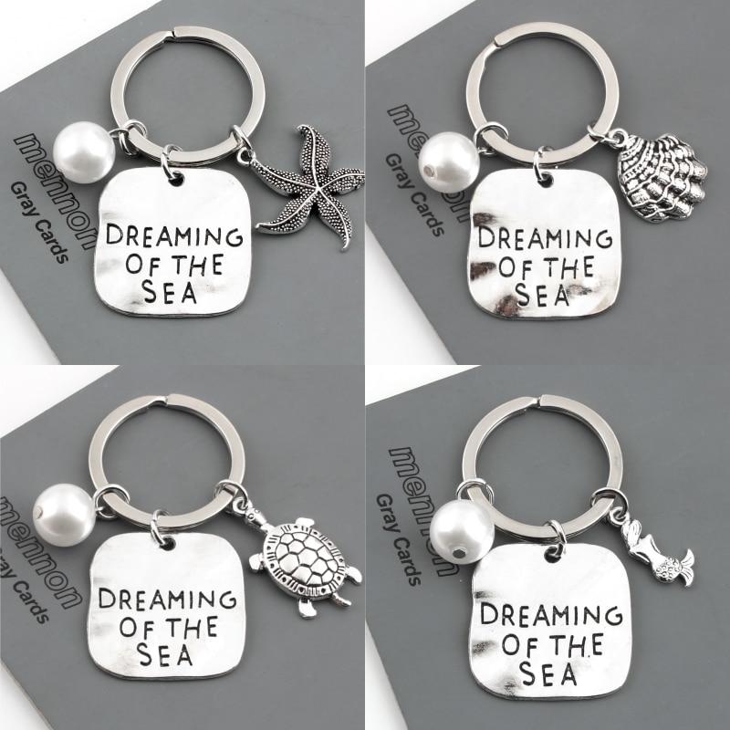 1Pc de verano de estilo sirena estrella de mar Shell llavero tortuga de mar llavero playa bolso de las mujeres regalo de la joyería E2393-E2397