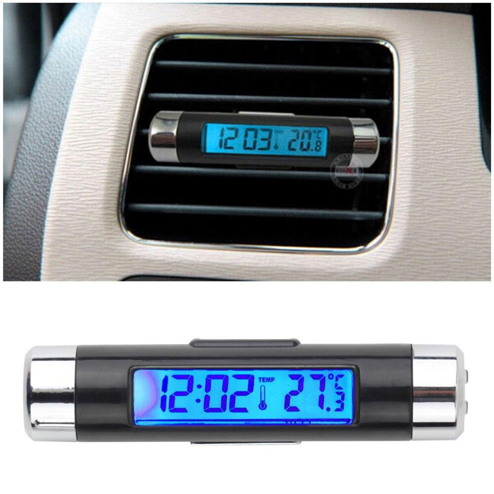 Novo 2 in1 carro auto lcd clip-on digital backlight termômetro automotivo relógio + voltímetro venda quente