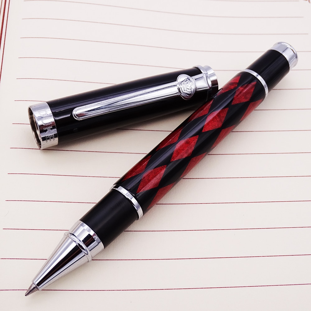 Bolígrafo De Bola de bola de fibra de carbono con relleno de tinta, rombos negros y rojos, bolígrafo de punto para regalo, suministros para estudiantes de oficina de negocios