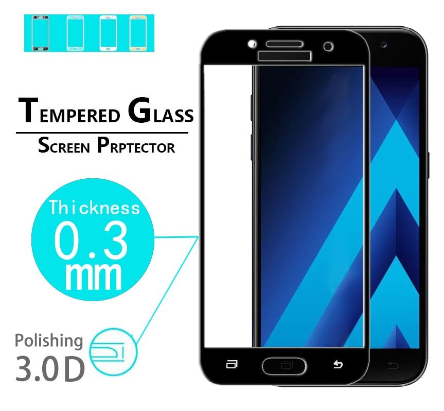 ¡Producto en oferta! Película protectora de vidrio curvado 3D para Samsung Galaxy A5 2017 A520, película protectora de vidrio templado de cobertura completa