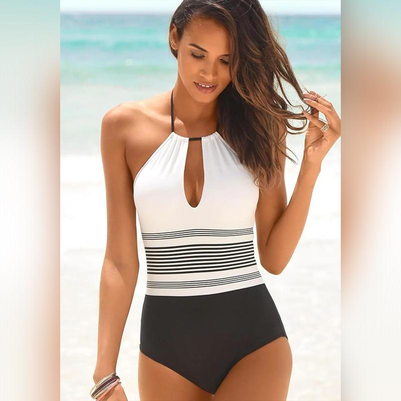Folok One piece Swimsuit Push Up Monokini Halter Backless Swimwear Bandage Bikini Femme Bodysuit For Women Beach