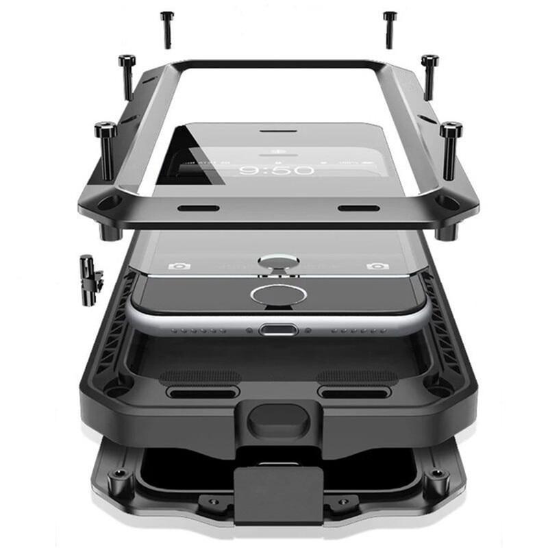 R-JUST de Doom armadura deber Shock vida impermeable de aluminio de Metal teléfono casos para iphone 8X7 4 4S 5 5C 5S 6 6S Plus de vidrio