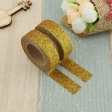 1X Gold Glitter Washi Tape Japanse Briefpapier Scrapbooking Decoratieve Plakband Kawai Adesiva Decorativa