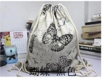 summer butterfly canvas drawstring backpack super thick encryption canvas pocket softback shoulders draw string shopping bag