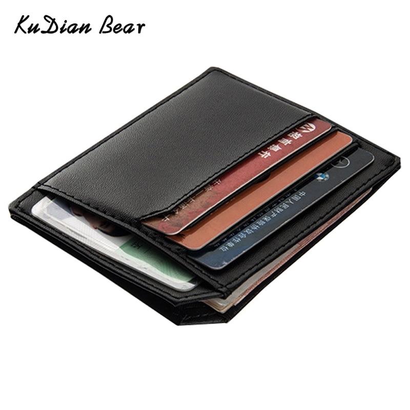 KUDIAN BEAR PU Leather Slim Men Credit Card Holder Brand Design Card Organizer Male Wallets Purses tarjetero hombre--BID104 PM49