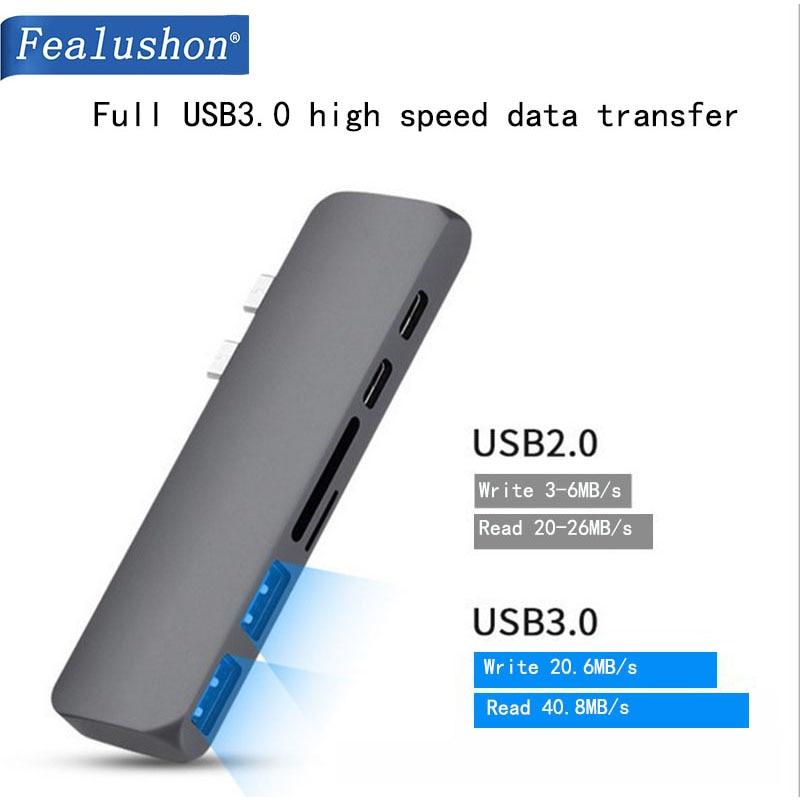 Док станция Fealushon с разъемом типа C HDMI USB хаб для ноутбука Macbook Pro HP DELL Surface Lenovo