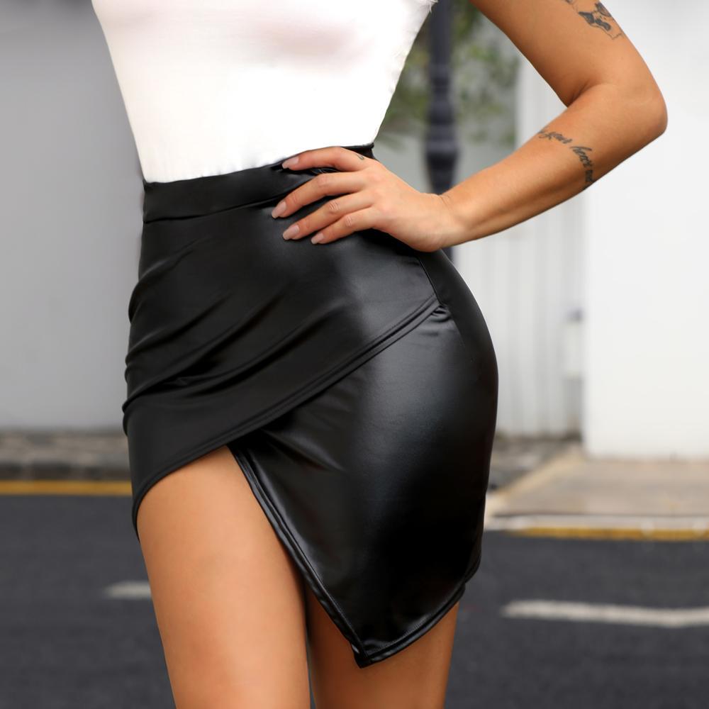 Women Fashion Sexy Black Wrap Solid Asymmetrical Bodycon Skirt Slim Fit High Waist Surplice PU Slinky Skirt surplice wrap tie waist stripe dress