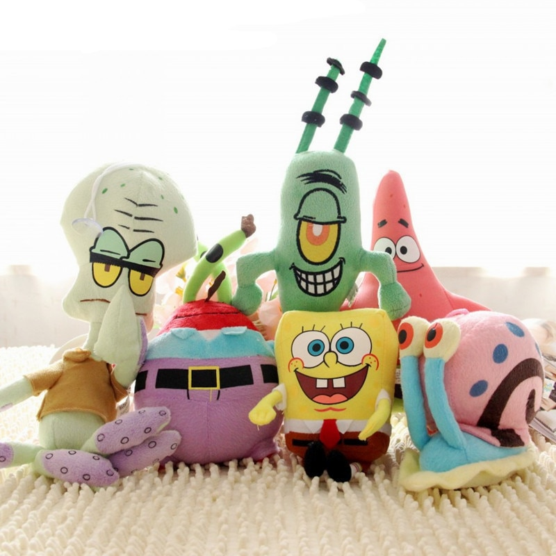 Bob Esponja de felpa Kawaii, juguetes, película de dibujos animados, muñecos de Anime rellenos, Patricio, estrella, EUA, Sheldon, Gary, regalo de cumpleaños para niños
