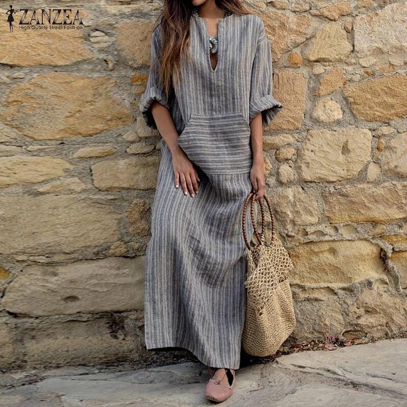 2020 herbst ZANZEA Frauen Gestreiften Kleid Sexy V-ausschnitt Langarm Maxi Lange Kleider Vintage Beiläufige Lose Plus Größe Vestidos