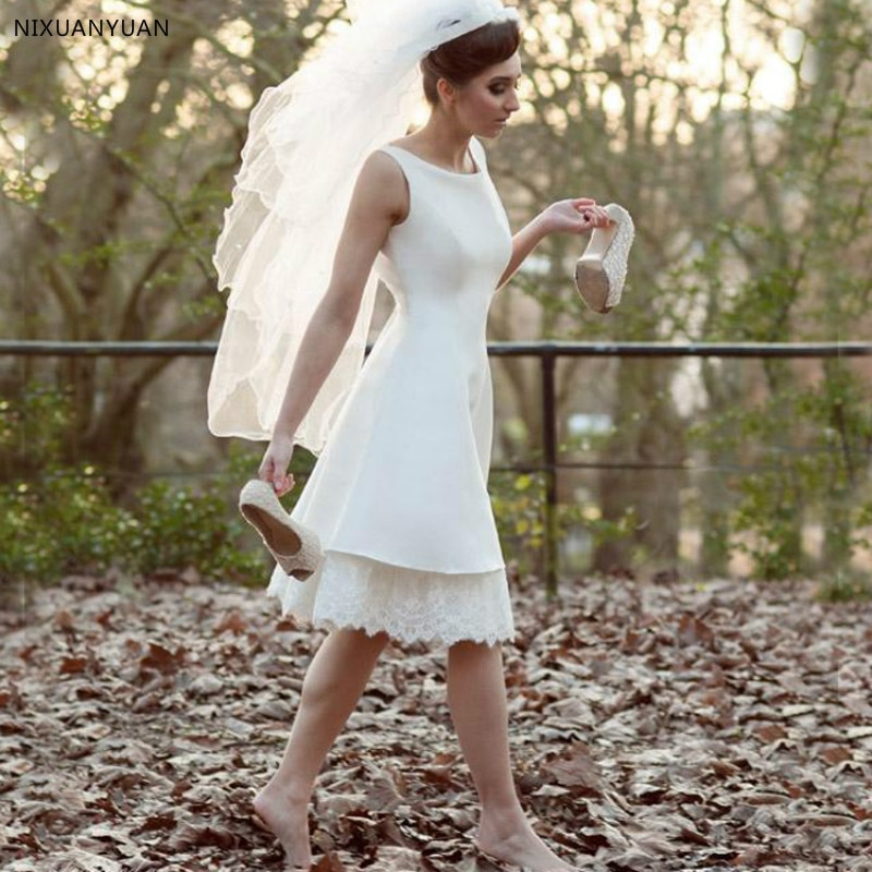Novedad 2020, vestidos De novia sencillos, sin mangas, Espalda descubierta, longitud a la rodilla, Vestido De novia, vestidos cortos De novia