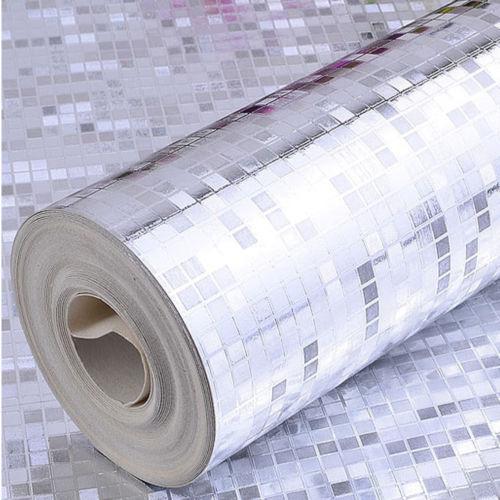 Q QIHANG moderno de lujo de papel de aluminio plateado Mini mosaico de fondo de parpadeo de plata 0,53 m * 10m = 5.3m2