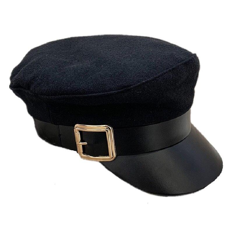 Sombrero militar plano Vintage para mujer con estilo de cinturón, diadema con hebilla de Metal, visor curvo, gorra de capitán marino de cuero PU, negro a la moda